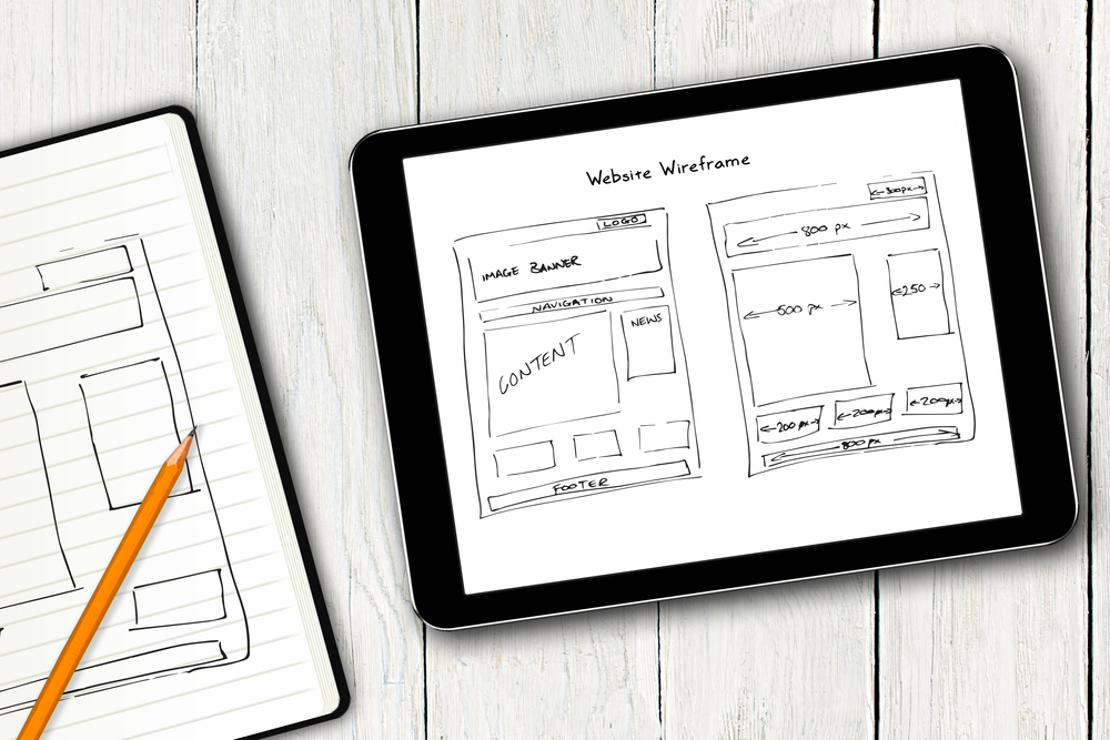 Web wireframe with information density